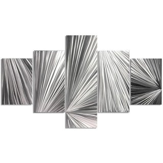 Nate Halley 'Columnar Light' Abstract Metal Art on Natural Aluminum