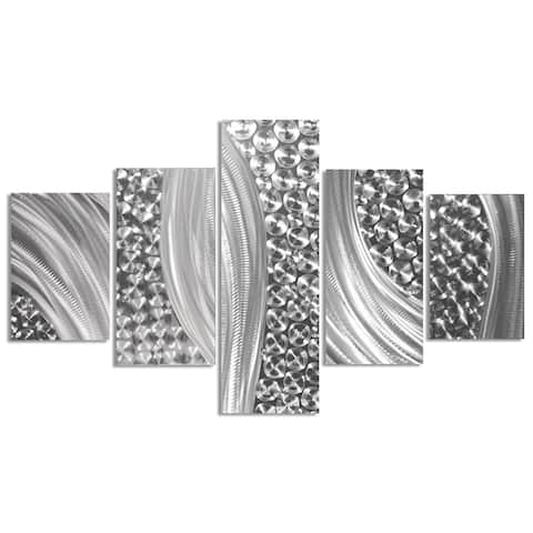 Helena Martin 'Columnar Riverbed' Abstract Metal Art on Natural Aluminum