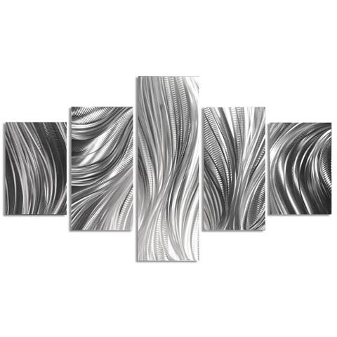 Helena Martin 'Columnar Plumage' Abstract Metal Art on Natural Aluminum