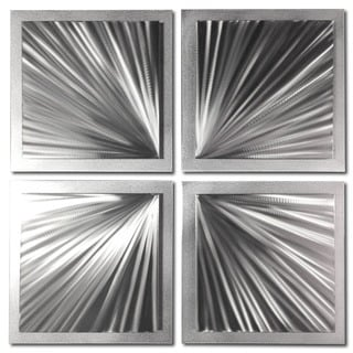 Nate Halley 'Silver Speed' Starburst Metal Art on Natural Aluminum