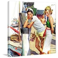 Marmont Hill - 'Checking Her Out' Painting Print on Wrapped Canvas - White