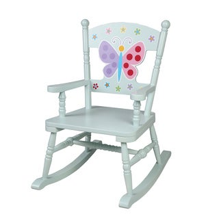 Levels of Discovery Olive Kids Blue Wood Butterfly Garden Rocking Chair