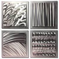 Helena Martin 'Silver Elements' Abstract Metal Art on Natural Aluminum