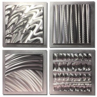 Nate Halley 'Silver Elements' Abstract Metal Art on Natural Aluminum