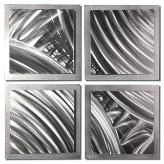 Nate Halley 'Silver Divisions' Abstract Metal Art on Natural Aluminum