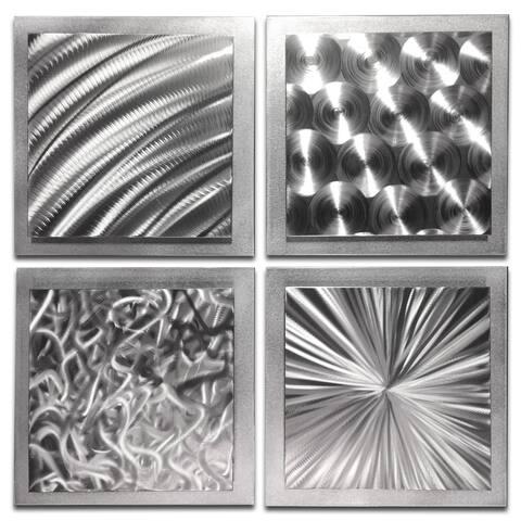 Helena Martin 'Silver Seasons' Abstract Metal Art on Natural Aluminum