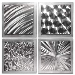 Nate Halley 'Silver Seasons' Abstract Metal Art on Natural Aluminum|https://ak1.ostkcdn.com/images/products/13999328/P20622361.jpg?impolicy=medium