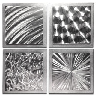 Helena Martin 'Silver Seasons' Abstract Metal Art on Natural Aluminum