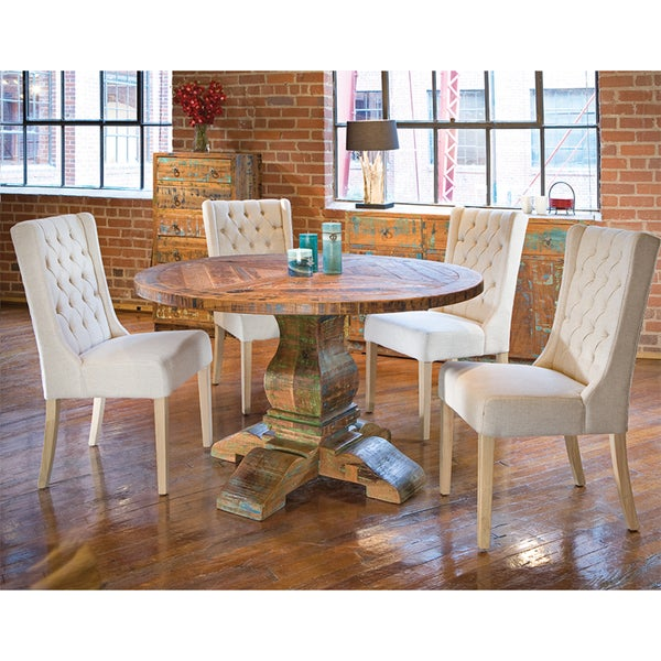 Aubagne 54-inch Reclaimed Teak Wood Round Dining Table