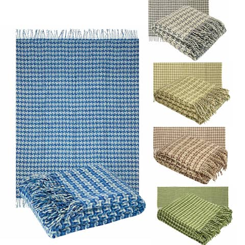 Pure Wool Throw with Fringe