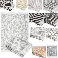 Wool Jacquard Design Throw with Fringe