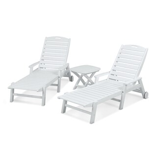 POLYWOOD Nautical 3-Piece Outdoor Chaise Lounge Set with Wheels and Table