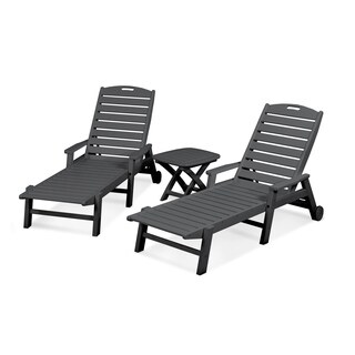 POLYWOOD Nautical 3-Piece Outdoor Chaise Lounge Set with Wheels and Table (3 options available)