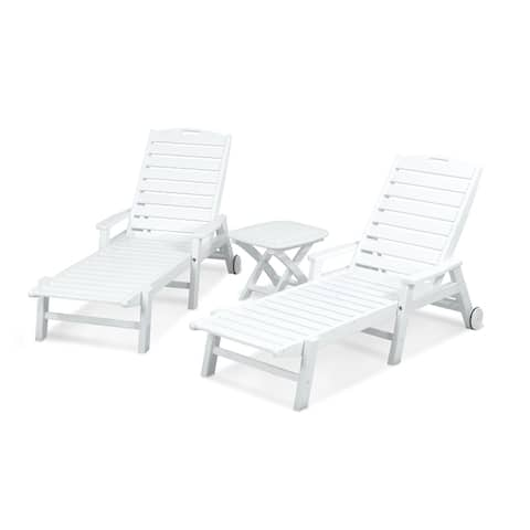 POLYWOOD® Nautical 3-Piece Outdoor Chaise Lounge Set with Wheels and Table