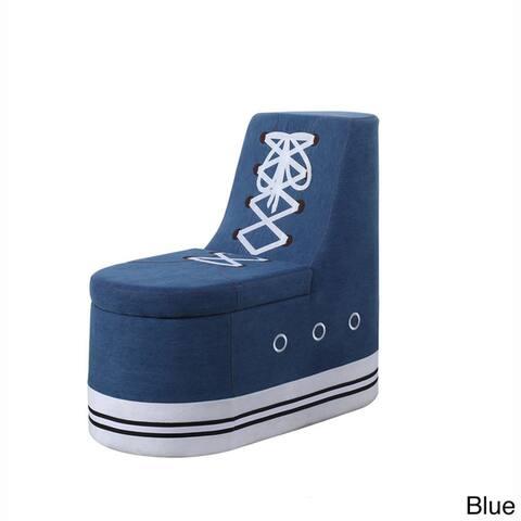 Denim Sneaker Shoe Storage Ottoman