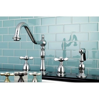 Heritage Cross Kitchen Faucet with Side Spayer
