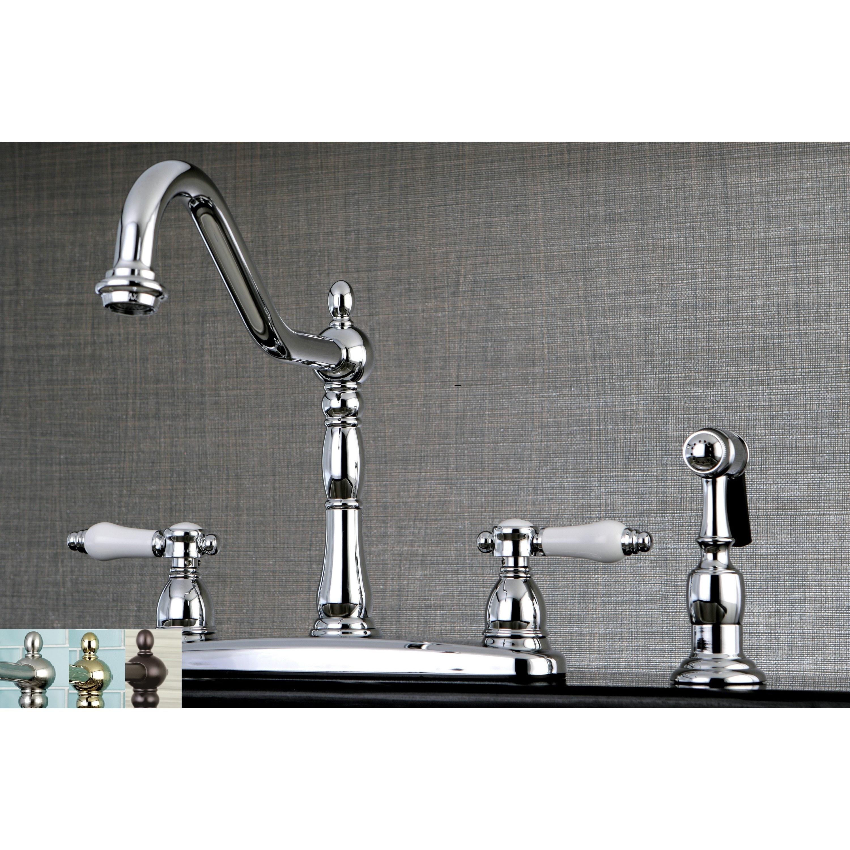 Vintage Porcelain 8 Inch Centerset Kitchen Faucet With Side Sprayer On Sale Overstock 13999534