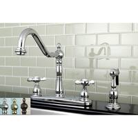 Vintage Cross 8-inch Centerset Kitchen Faucet with Side Sprayer