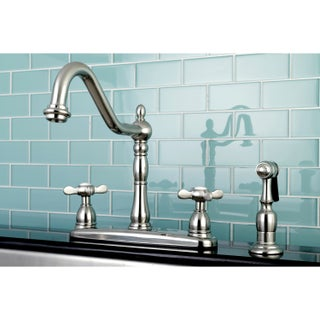 Vintage Cross 8-inch Centerset Kitchen Faucet with Side Sprayer (Option: Silver - Satin)