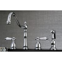 Heritage Porcelain Kitchen Faucet with Side Spayer