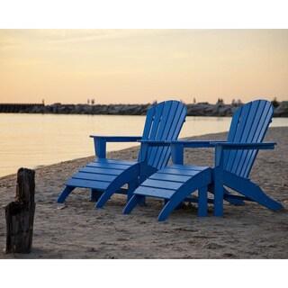 POLYWOOD South Beach 4-Piece Adirondack Chair and Ottoman Set