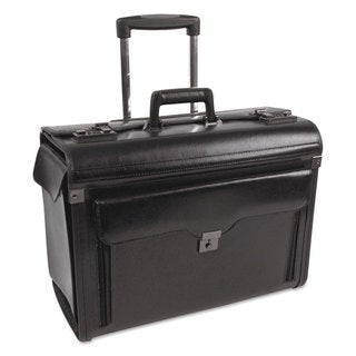 Bond Street Ltd. Rolling Catalog/Computer Case Leather 19 x 9 x 15-1/2 Black