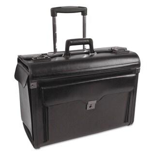 Bond Street Ltd. Rolling Catalog/Computer Case Leather 19 x 9 x 15-1/2 Black (As Is Item)