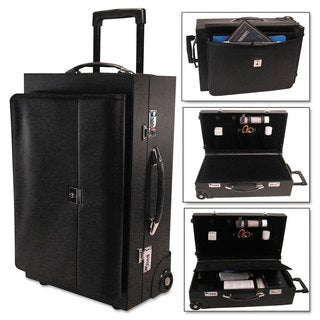 Bond Street Ltd. Rolling Sample/Catalog Case 14 1/4 x 23 1/2 x 11 1/4 With Locks Koskin Black