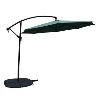 Troy Green Cantilever 10-foot Umbrella with Black 4 Pc Polyresin Weight