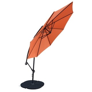 10-foot Troy Orange Umbrella with Black 4-piece Polyresin Weight