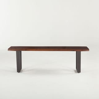 Belfrie Cast Iron Acacia Live Edge Dining Bench