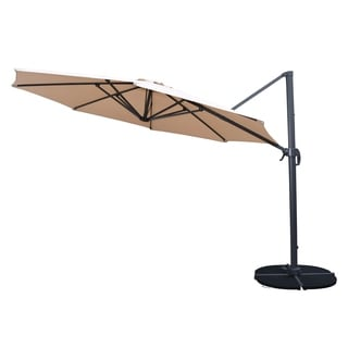 Troy Beige 11-foot Cantilever Umbrella with Black 4 Pc Polyresin Weight