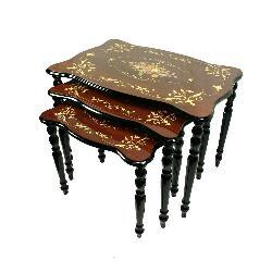 Sorrento Italian Style Inlaid Wood Nesting Table Set - Thumbnail 1