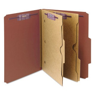 Smead Pressboard Folders with Two Pocket Dividers Letter Six-Section Red 10/Box
