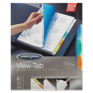 Wilson Jones View-Tab Transparent Index Dividers 5-Tab Rectangle Letter Assortedd 5 Sets/Box