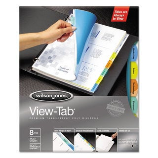 Wilson Jones View-Tab Transparent Index Dividers 8-Tab Rectangle Letter Asstd 5 Sets/Box