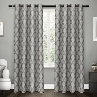 ATI Home Electra Scalloped Jacquard Linen with Woven Blackout Liner Grommet Top Curtain Panel Pair