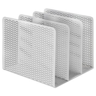 Artistic Urban Collection Punched Metal File Sorter Three Sections 8 x 8 x 7 1/4 White