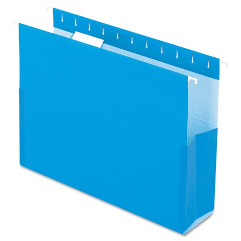 Pendaflex SureHook Reinforced Hanging Box Files 3-inch Exp with Sides Letter Blue 25/Box