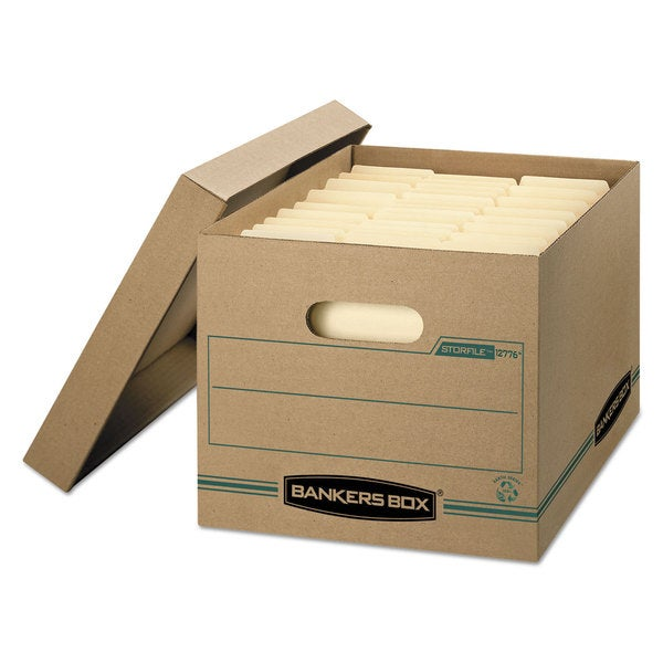 Bankers Box STOR/FILE Storage Box Letter/Legal Lift-off Lid Kraft/Green  12/Carton