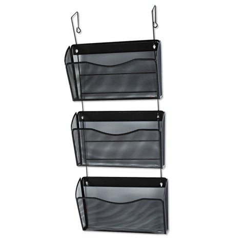 Rolodex Three-Pack Wire Mesh Wall Files Letter Three Pockets Black