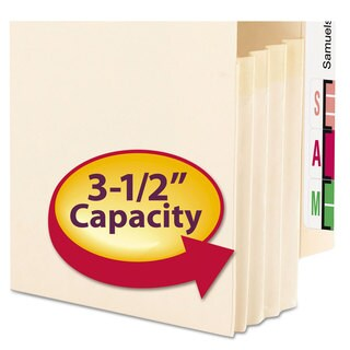 Smead 3 1/2-inch Exp End Tab File Pocket Straight Tab Legal Manila 25/Box