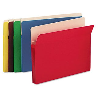 Smead 3 1/2-inch Exp Colored File Pocket Straight Tab Letter Assorted 25/Box