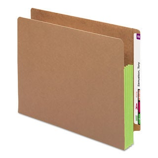 Smead 3 1/2-inch Exp File Pockets Straight Tab Letter Green 10/Box