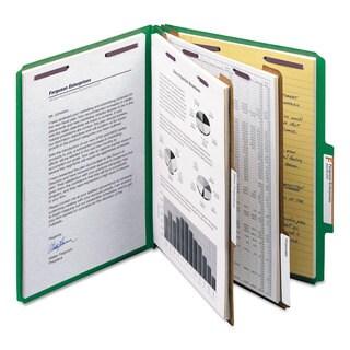 Smead Pressboard Classification Folders Letter Six-Section Green 10/Box