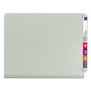 Smead Pressboard End Tab Classification Folder Letter 6-Section Grey/Green 10/Box