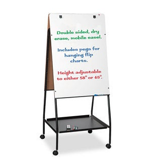 Best-Rite Wheasel Easel Adjustable Melamine Dry Erase Board 28 3/4 x 59 1/2 White