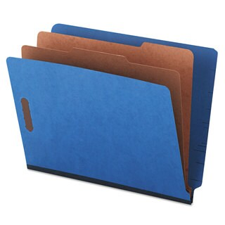 Universal One Pressboard End Tab Classification Folders Letter Six-Section Blue 10/Box