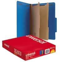 Universal Pressboard Classification Folders Letter Six-Section Cobalt Blue 10/Box