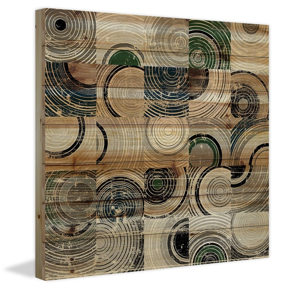 Marmont Hill - Handmade Swirling Rings Painting Print on Natural Pine Wood